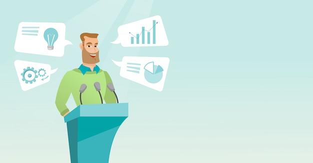 Homme d'affaires, prononçant des discours lors d'un séminaire d'entreprise.