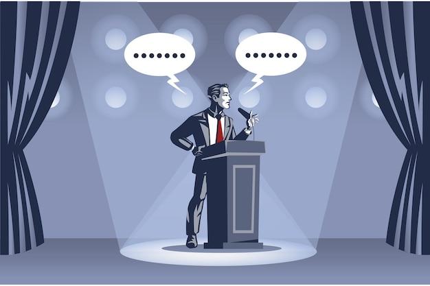 Homme d'affaires prononce un discours sur scène sous les projecteurs