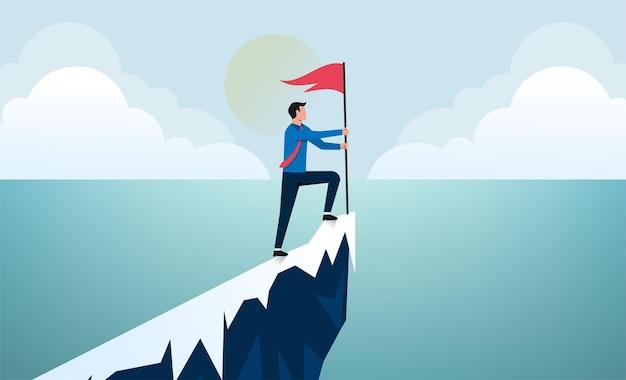 Homme d'affaires prospère au sommet de l'illustration de la montagne.