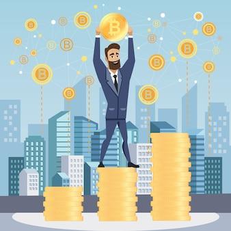 Homme d'affaires prospère avec bitcoin.