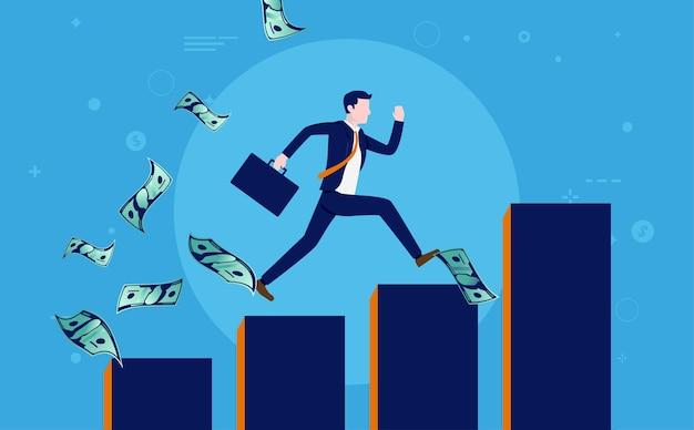 Homme d'affaires prospère en cours d'exécution sur un graphique croissant pendant que l'argent vole