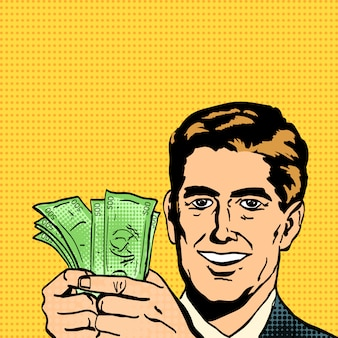 Homme d'affaires prospère détient de l'argent en mains