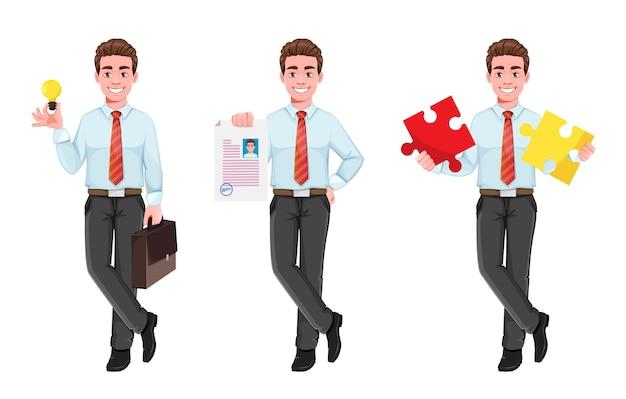 Homme d'affaires prospère, ensemble de trois poses