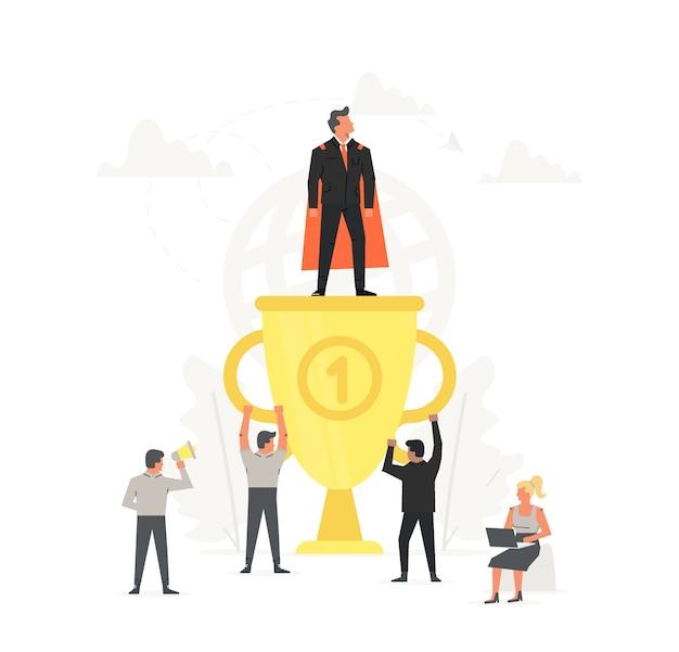 Homme d'affaires prospère et jeune sur gros trophée d'or. super homme debout sur une grande tasse. les gens sont heureux pour le gagnant. illustration de démarrage d'entreprise.