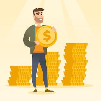 Homme d'affaires prospère avec une pièce d'un dollar.