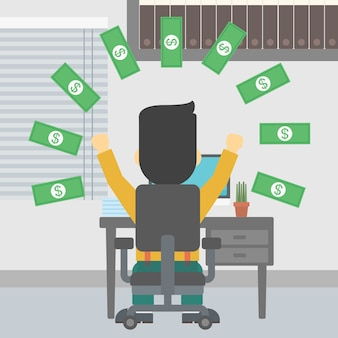 Homme d'affaires prospère sous une pluie d'argent.