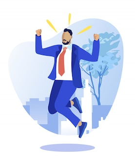 Homme d'affaires prospère triomphant de la victoire