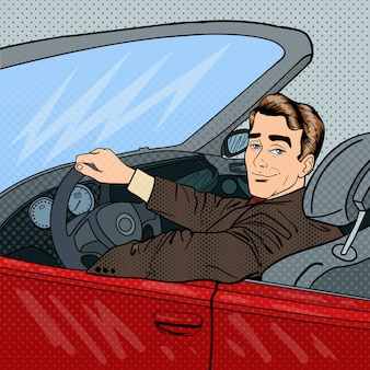 Homme d'affaires prospère en voiture de luxe. homme conduisant un cabriolet. pop art.