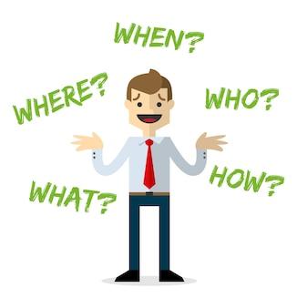 Homme d'affaires avec des questions