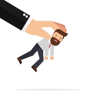 Homme d'affaires ramassé par grosse main