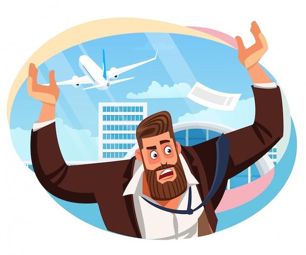 Homme d'affaires a raté le vecteur de dessin animé de vol de ligne aérienne