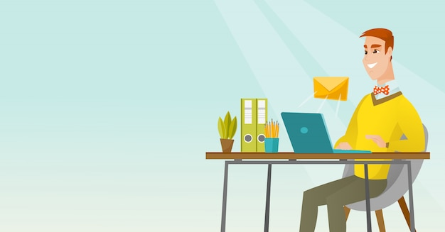 Homme d'affaires recevant ou envoyant un courrier électronique.