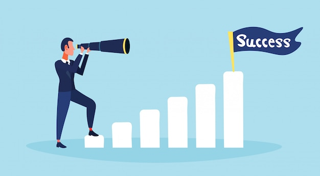 Homme d'affaires à la recherche d'échelle binoculaire entreprise vision succès stratégie stratégie drapeau