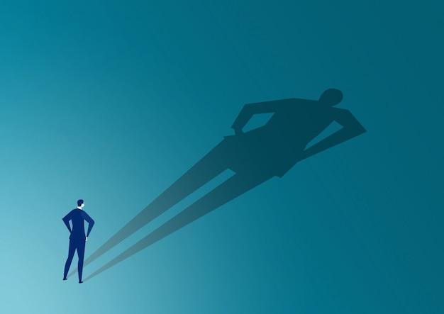 Homme d'affaires à la recherche avec une grande ombre lui-même concept.