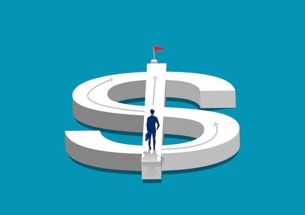 Homme d'affaires à la recherche d'un moyen d'atteindre l'objectif sur le symbole du dollar