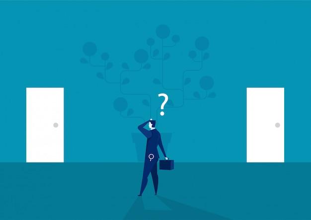 Homme d'affaires à la recherche de la porte dans les deux sens pour investir le vecteur