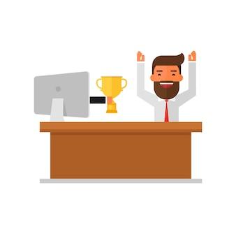 Homme d'affaires a reçu un prix dans le concours en ligne de moniteur.