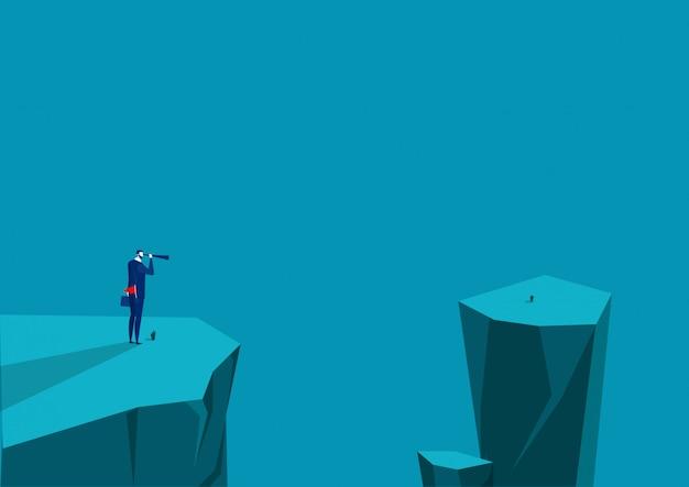 Homme affaires, regarde, télescope, sommet, montagne., leadership, vision, télescope,