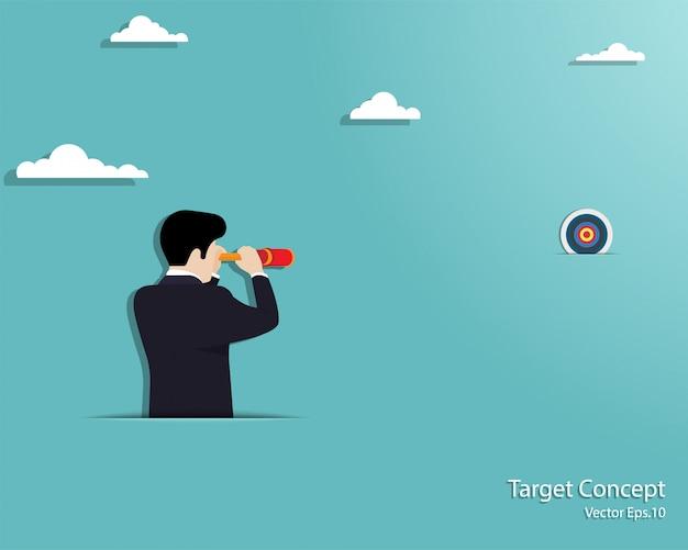 Homme affaires, regarder, par, télescope, à, cible