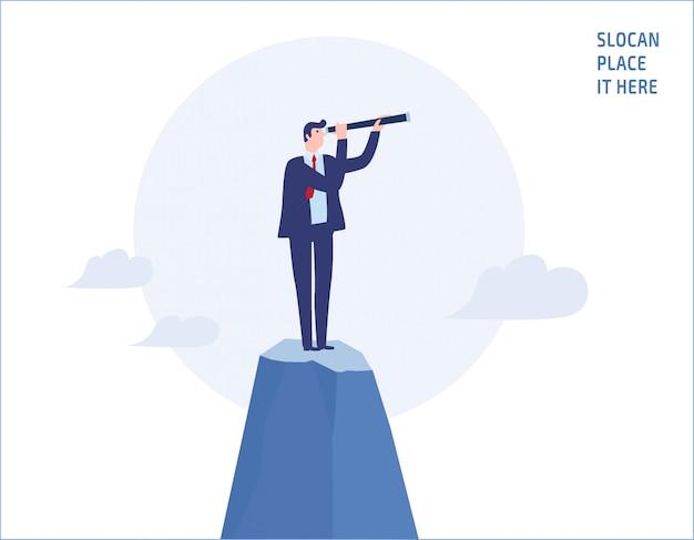 Homme affaires, regarder travers, télescope, sommet, montagne