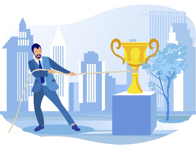 Homme d'affaires remportant le prix du champion d'or