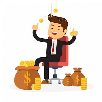 Homme d'affaires reposant sur une chaise en argent de fond
