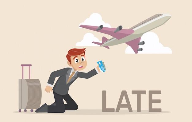 Homme d'affaires en retard pour un vol.