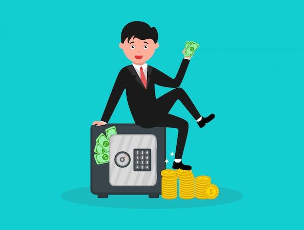 Homme d'affaires riche assis sur le dessus de l'illustration de casier d'argent