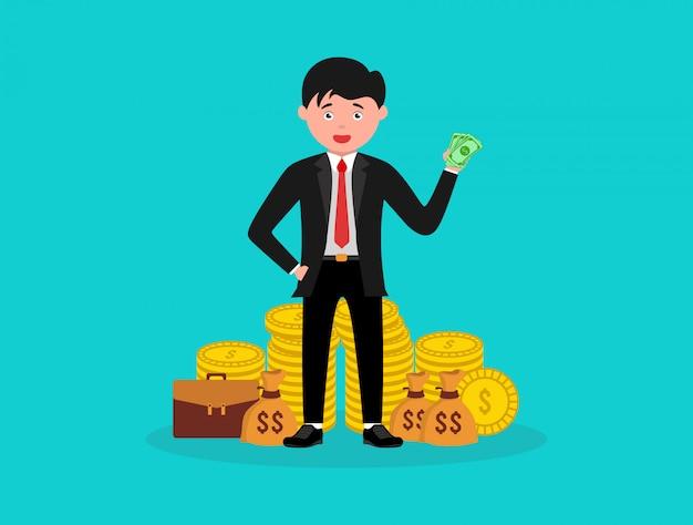 Homme d'affaires riche debout avec sac d'argent illustration