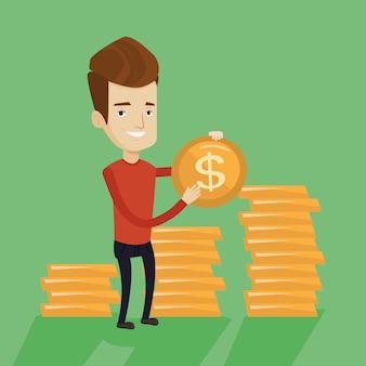 Homme d'affaires riche tenant une pièce d'un dollar.