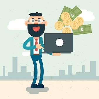 Un homme d'affaires riche tient un ordinateur portable en train de jeter de l'argent