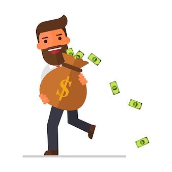 Homme d'affaires avec sac plein d'argent liquide