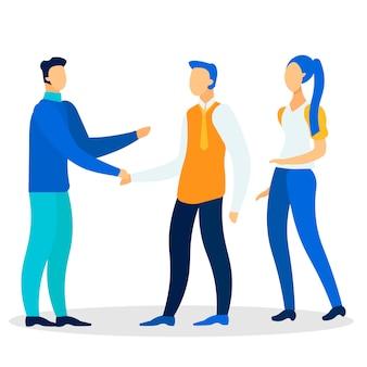 Homme d'affaires, salutation, partenaires, plat, illustration