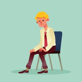 Homme d'affaires sans espoir assis sur une chaise et caricature qui pleure