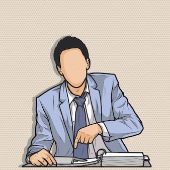 Homme d'affaires sans visage pointant vers son travail au bureau