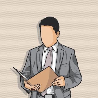 Homme d'affaires sans visage tenant le dossier à la main