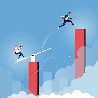 Homme d'affaires sautant sur une balançoire aide un autre à atteindre les étoiles