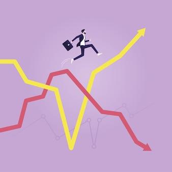 Homme d'affaires sautant de la flèche descendante à la flèche montante des économies et du plan financier d'investissement