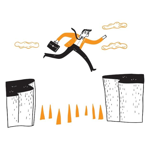 Homme d'affaires sautant par-dessus la falaise