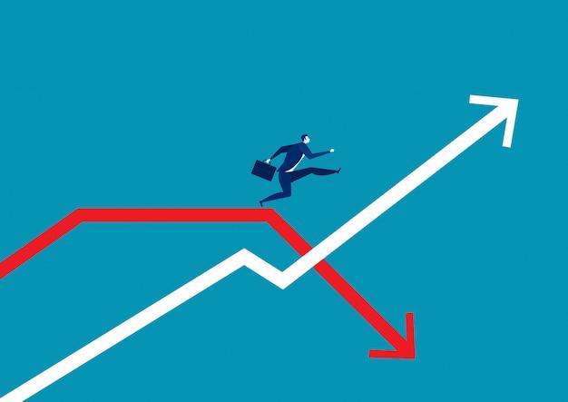 Homme d'affaires sautant passer le graphique de la flèche.