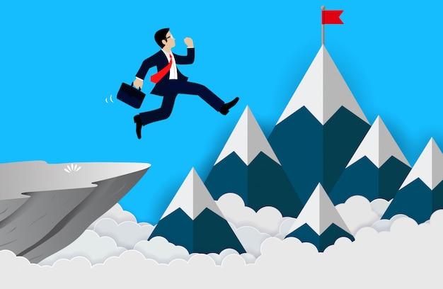 Homme d'affaires saute de la falaise