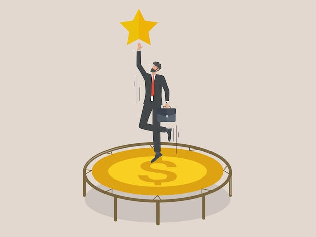 Homme d'affaires saute haut sur un trampoline en essayant d'atteindre les étoiles, un employé avec un trampoline en espèces veut atteindre son objectif.