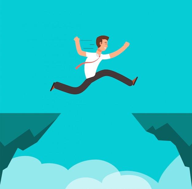 Homme affaires, sauter par-dessus, canyon