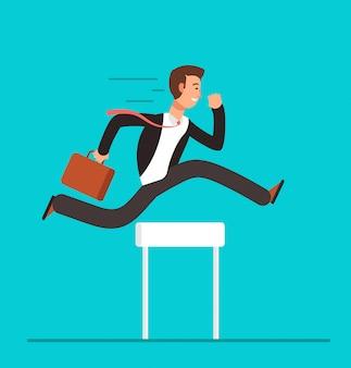 Homme affaires, sauter par-dessus, haies. défi commercial, concept de vecteur surmontant réussi