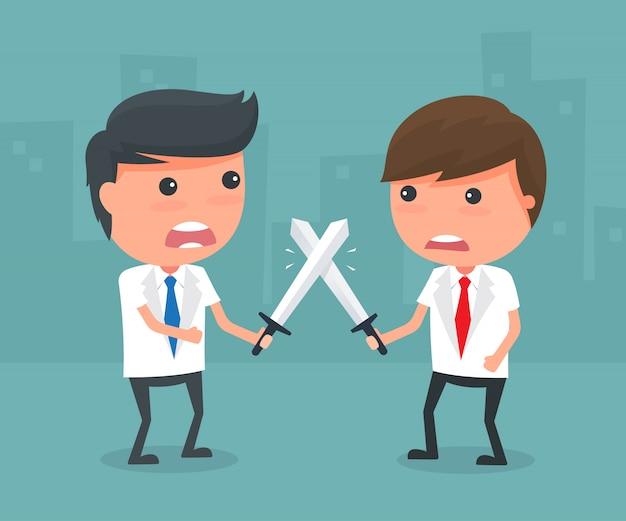 Homme d'affaires se battre avec l'épée.