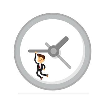Homme d'affaires se bloque sur une flèche de l'horloge