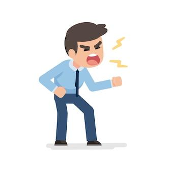 Homme d'affaires se met en colère