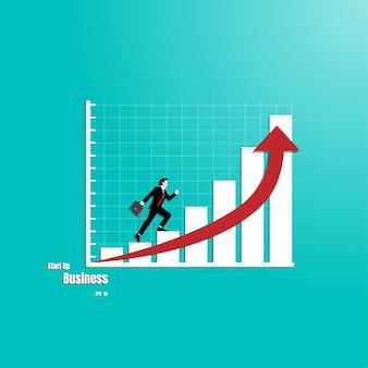 Homme d'affaires se promène sur les graphiques pour réussir