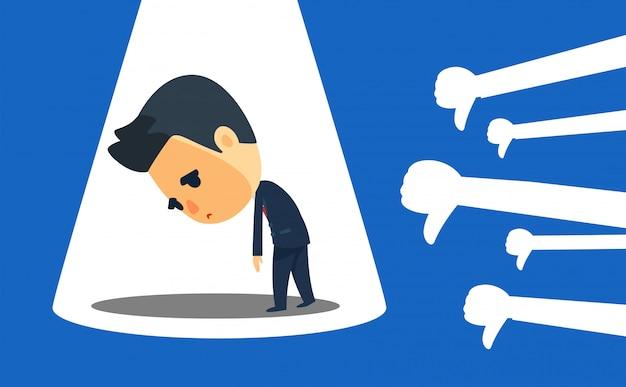 Un homme d'affaires se sent mal à cause du pouce vers le bas. illustration vectorielle