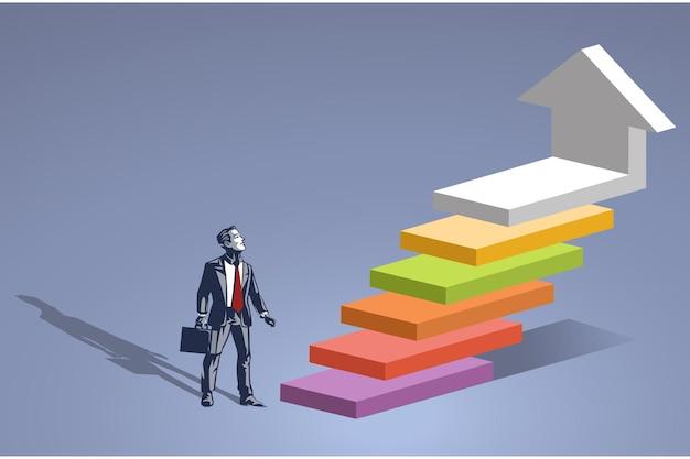 Homme d'affaires se tient à côté des étapes indiquant les phases blue collar